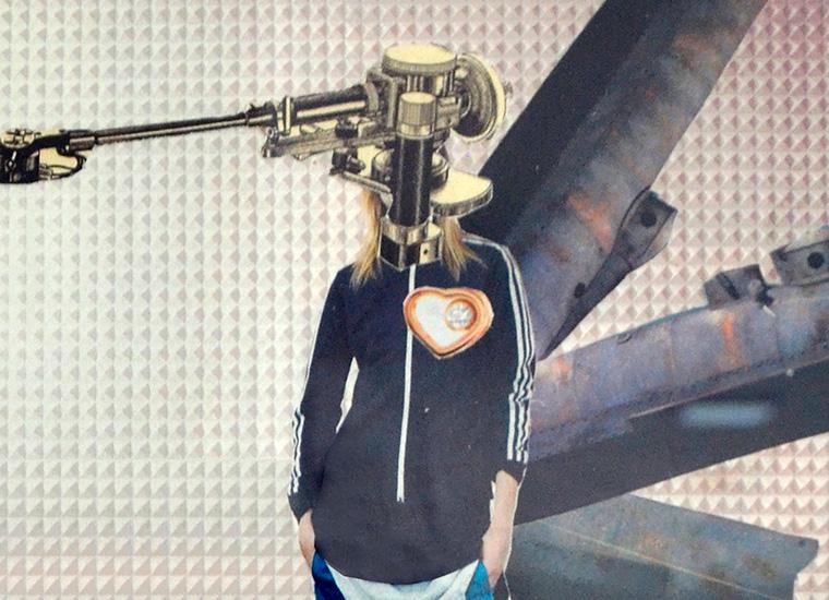 1er droide Lemoi 2017 Collage análogo sobre papel 25x20cm